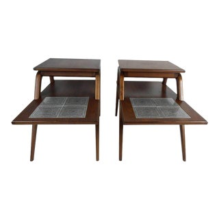 Vintage Modern Two-tier End Tables With Tile Inlay - a Pair