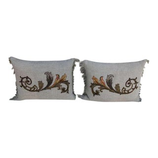 Antique Appliqued Belgian Linen Pillows - A Pair