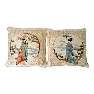 Japanese Hand-Embroidered Linen Pillows - A Pair
