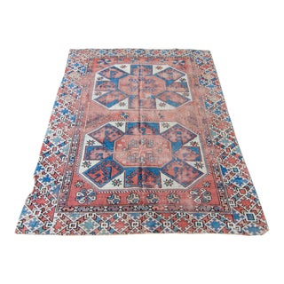 """Antique West Anatolian Bergama Handwoven Wool Low Pile Rug - 6'2"""" X 4'10"""""""