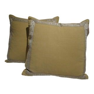 Cream Linen Pillow With Appliquéd Tape - A Pair