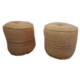 Grain Sack Round Ottomans, Violet Stripes - Pair