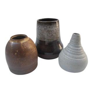 Hand-Thrown Studio Pottery Vases - Set of 3