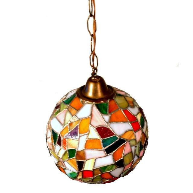 Mid-Century Mosaic Globe Pendant Lamp - Image 2 of 8
