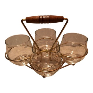 Art Deco Set of 4 Cordial Glass With Gold Caddy