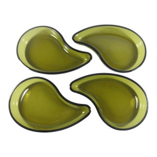 Green Glass Teardrop Dishes - Set of 4