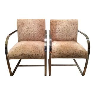 Mid-Century Milo Baughman Chrome Arm Chairs - Pair