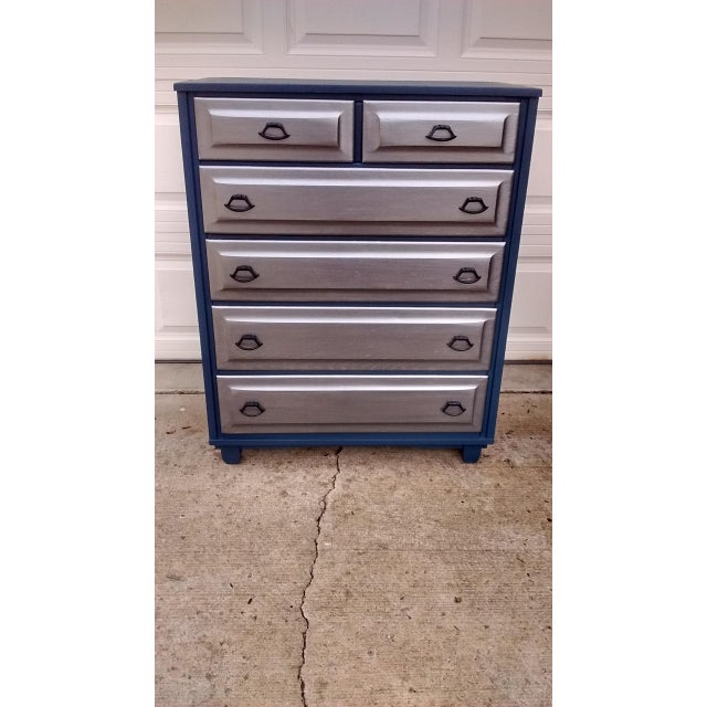 Mid-Century Blue & Metallic Solid Wood Dresser - Image 3 of 7