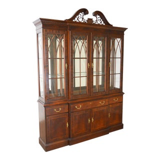 Ethan Allen Mahogany 18th Century Collection Breakfront China Cabinet