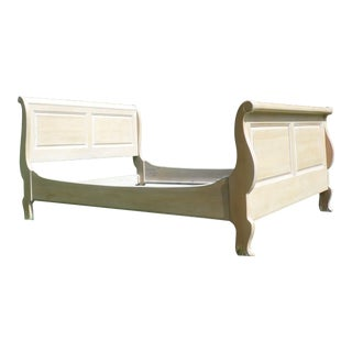 Vintage Ethan Allen Country French Bisque Birch Full Double Sleigh Bed