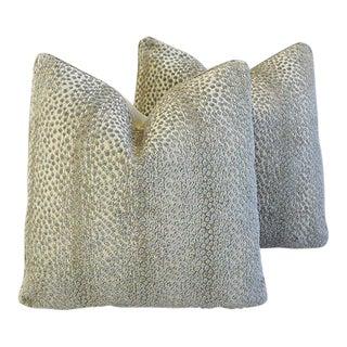Schumacher Custom Tailored Animal Spot Linen Velvet Feather/Down Pillows - Pair