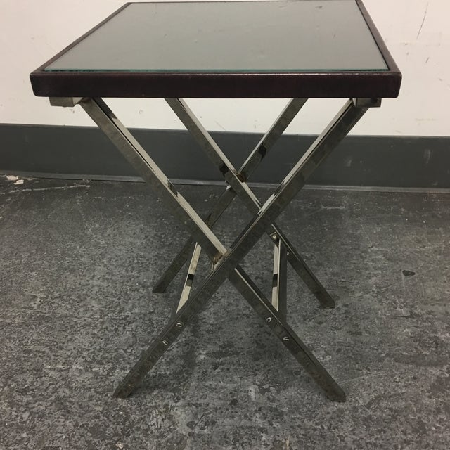 Image of Hickory Chair Company Side Table With Leather Top
