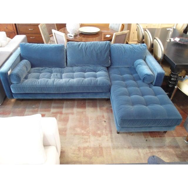 Pacific Blue Velvet Sectional Sofa - Image 2 of 5 - Pacific Blue Velvet Sectional Sofa Chairish