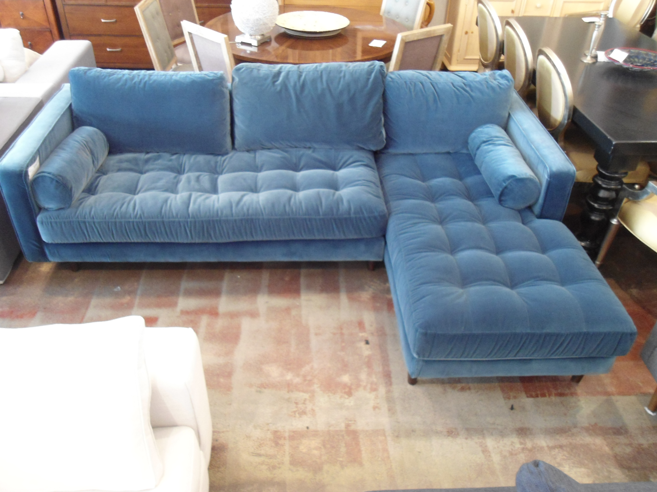 Pacific Blue Velvet Sectional Sofa - Image 2 of 5  sc 1 st  Chairish : velvet sectional - Sectionals, Sofas & Couches