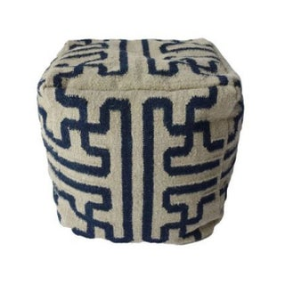 Black and White Dhurrie Pouf