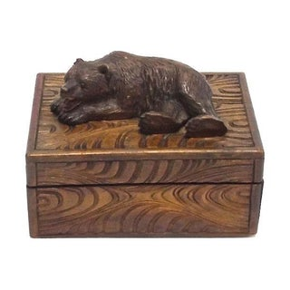 Antique Black Forest Carved Bear Box