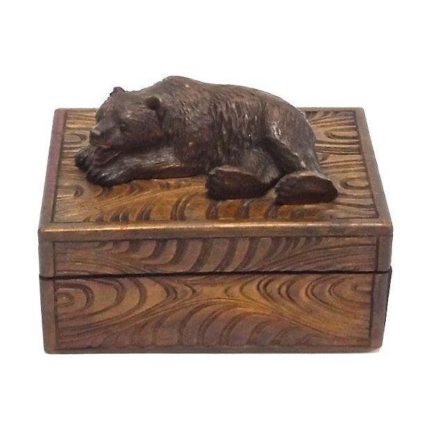 Antique Black Forest Carved Bear Box - Image 1 of 5