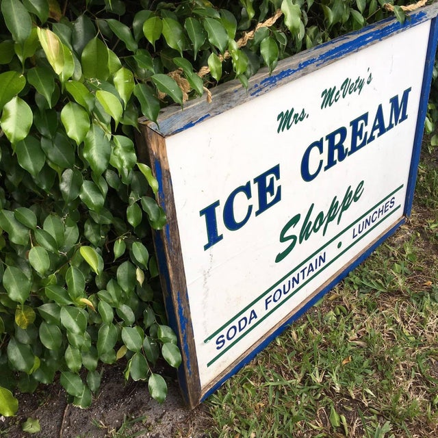 Antique Hand Painted Ice Cream Shoppe Sign - Image 4 of 9