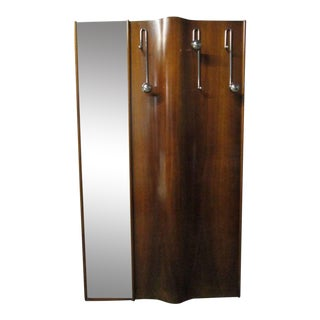 Italian Wall-Mounted Coat Rack with Mirror