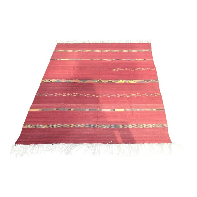 Vintage Mexican Zapotec Rug In Small Size With Stylized: Geometric Zapotec Wool Area Rug - 9′ × 12′
