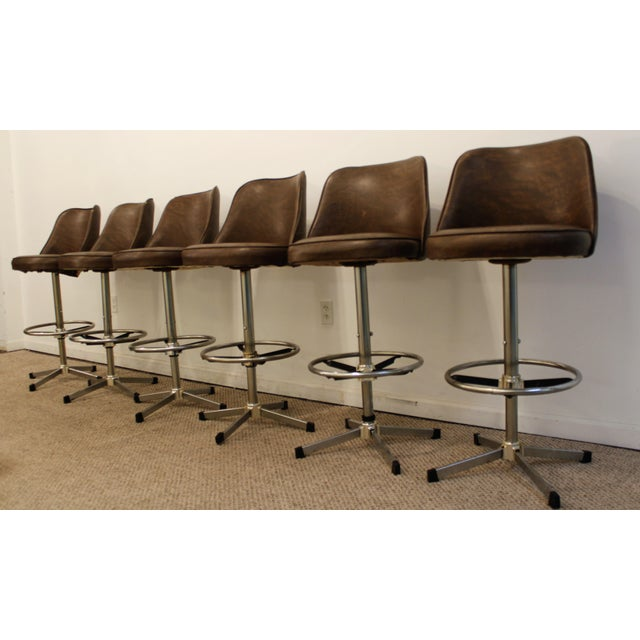 Danish Modern Admiral Chrome Swivel Stools - Set of 6 - Image 3 of 11