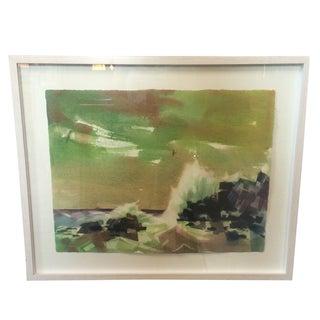 Mid-Century Rocky Coast  Watercolor