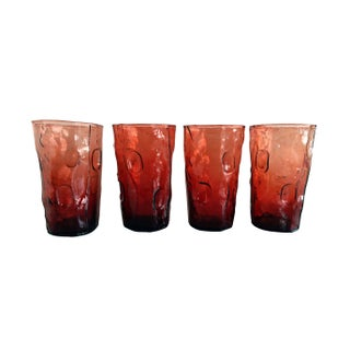 Pinched Glass Cranberry Tumblers - Set 4
