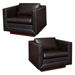Gunlocke Vintage Leather Club Chairs - Pair