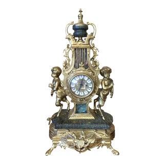 Rococo Louis XVI French Marble & Bronze Mantel Clock