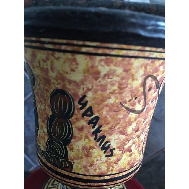 Small Black & Yellow Greek Signed Vase - Image 4 of 5