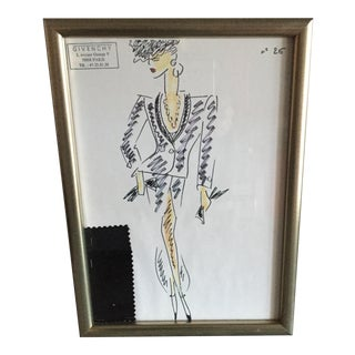 Framed Givenchy Croquis of a Black Evening Suit