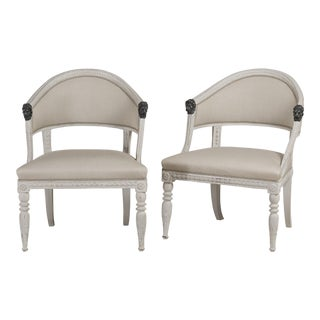 A Pair of Painted Swedish Empire Armchairs circa 1800