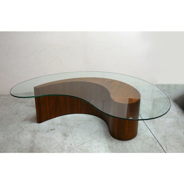 Kidney Shape Walnut Coffee Table With Glass Top Chairish