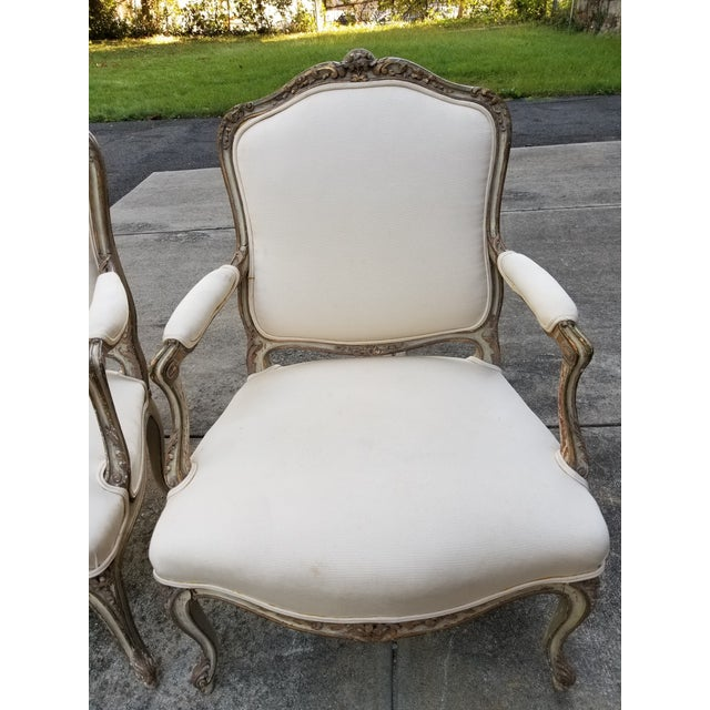 Vintage French Louis XV Style Armchairs - a Pair - Image 4 of 11