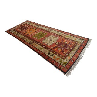 Vintage Kurdish Hand Woven Wool Tribal Rug Runner- 4′ × 10′4″