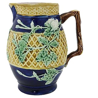 Antique English Majolica Basket Jug