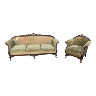 Antique Gothic Green Sofa and Armchair Set - 2 Pc.