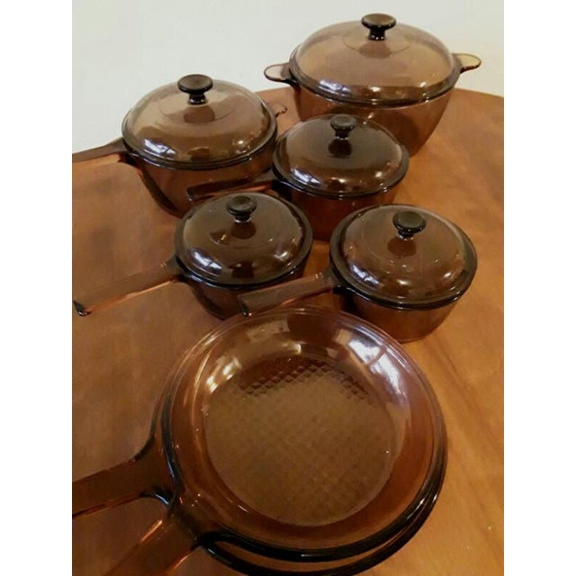 Vintage Corning Visions Glass Amber Cookware Set