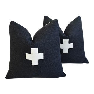 """22"""" Custom Tailored Charcoal Appliqué Cross Wool Feather/Down Pillows - a Pair"""