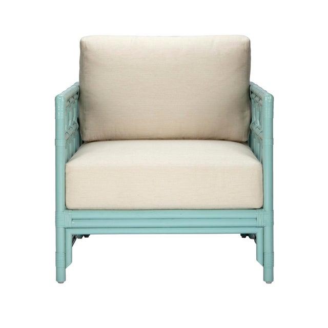 Selamat Designs Regeant Light Blue Rattan Lounge Chair - Image 1 of 2