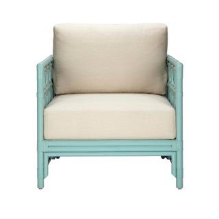 Selamat Designs Regeant Light Blue Rattan Lounge Chair