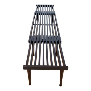 Brown Saltman Mid-Century Slat Bench