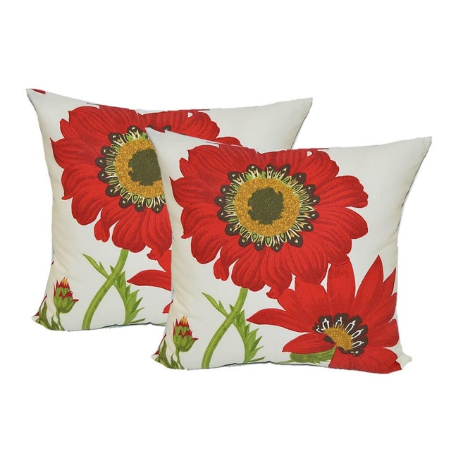 Red Poppy Floral Outdoor Decorative Pillows - Pair - Image 1 of 2
