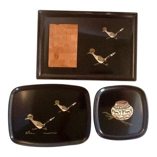 Mid-Century Southwest Courac Melamine Art Trays - S/3