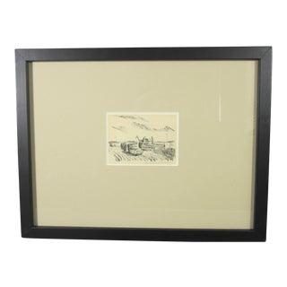 "J.S. Rudlacek Miniature ""Harvest Scene"" Lithograph"