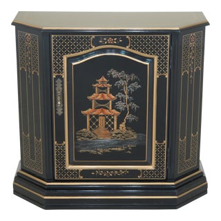 Chinoiserie Decorated Black Lacquer Foyer Cabinet