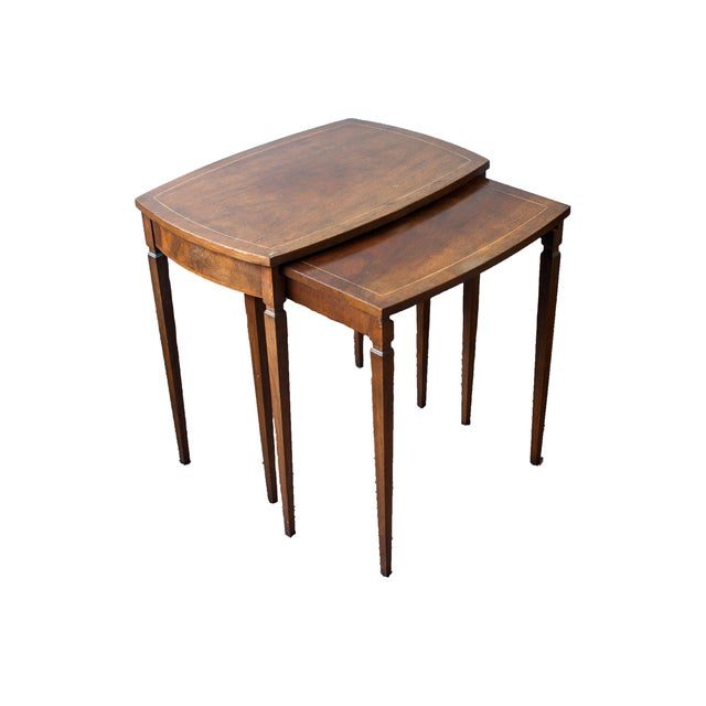 Baker Mid-Century Walnut Nesting Tables - A Pair - Image 1 of 4