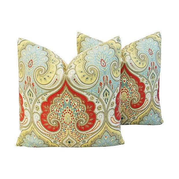 Custom Kravet Latika Festival Linen Pillows - Pair - Image 1 of 7