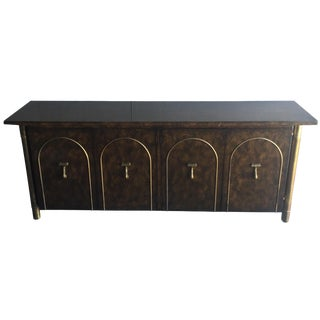 Mastercraft Brass and Burl Wood Sideboard