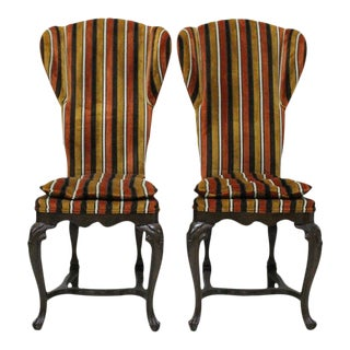 Walnut & Chenille Wingback Chairs - Pair